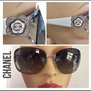 CHANEL Camelia Crystal Shield Sunglass